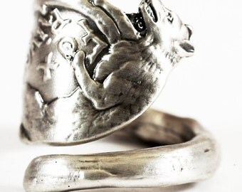 Fox Ring, Sterling Silver Spoon Ring, Fox River Valley, Handmade Jewelry, Woodland Animal Ring, What Does the Fox Say, Adjustable Ring, 1163