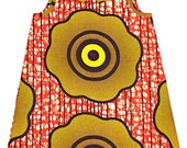 African Print  Girl's  Dress in yellow and orange flower pattern