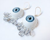 Pastel Goth Earrings - Weird Blue Evil Eye White Crystal Teardrops - Gothic Spooky Kawaii Harajuku Pop Japanese Edgy Kitschy