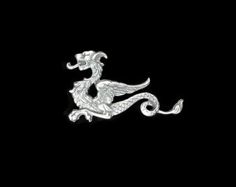 Silver Plated Brass Dragon Winged Sea Serpent Stamping Right Side Made in the USA