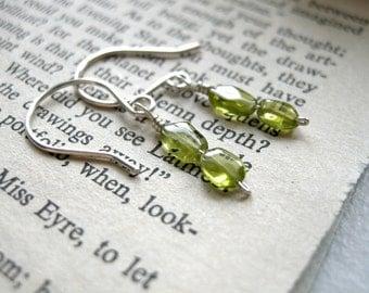 SALE Short Verdura Peridot Dangly Earrings / Delicate August Birthstone Jewelry, Bright Lime Green Olivine Summer Jewelry, Oval Stones