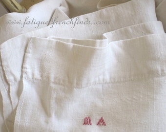Antique French 19th Century Hand Woven Hand Stitched Linen Sheet MA Mono & Centre Seam