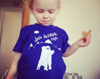 Screen Printed kids T shirt- Swedish I Love You Polar Bears American Apparel made in the USA Bright Blue 2T