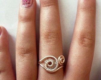 Wire wrapped Snail Ring
