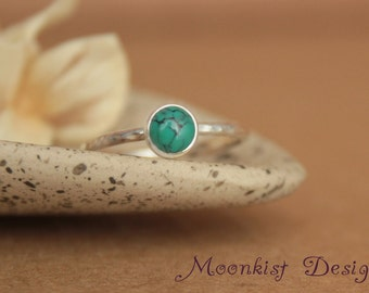 delicate turquoise promise ring unique bezel set turquoise solitaire in sterling turquoise engagement - Turquoise Wedding Rings