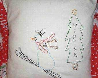 WINTER, Pillow Cover, Snowman, Pillow Case, Hand Embroidered, Winter Tree, Christmas, Whimsical, Primitive, Folk Art