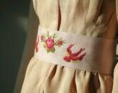 Lilac linen cross stitched rose and birds obi,sash belt embroidered belt