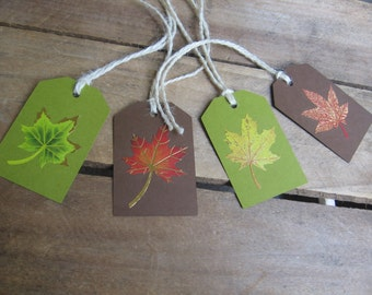 Fall Leaf Gift Tags, Foil Leaf Tags,  Set of 8, Leaf Gift Tag, Thanksgiving, Hostess Gift, Fall Holiday Tag, Fall Leaves, Gift Embellishment