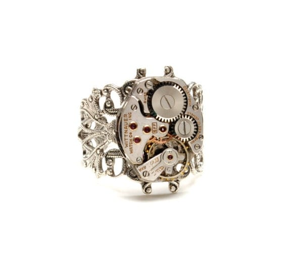 Steampunk Ring Steam Punk Ring WITTNAUER Steampunk Watch Ring Silver Filigree Ring Victorian Steampunk Jewelry by Victorian Curiosities
