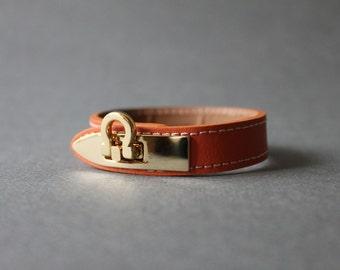 Gancini Metal Ornament Bracelet (Orange)