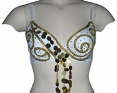 Gold and withe customized bra, goddess style belly dance bra  with gold trims and penny sequins