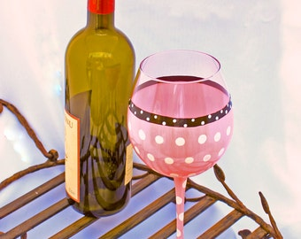 Hand Painted Wine Glasses, Pink and White Polka Dot