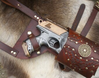 Hand Carved Leather Nerf Maverick / Strongarm / Hammershot Holster