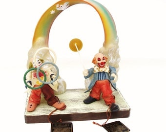 Anri Wood Carved Display and  Toriart Clowns / Over the Rainbow Diorama / Wooden Clowns, Juggler - Lot of 3