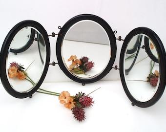 Antique Tri Fold Mirror / Wood Framed Mirrors / 3 Panel Wall Mirror - Shaving Mirror