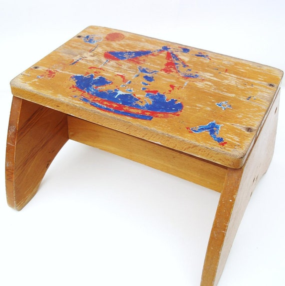 Vintage Childs Step Stool Wooden Bench Rustic Kids By