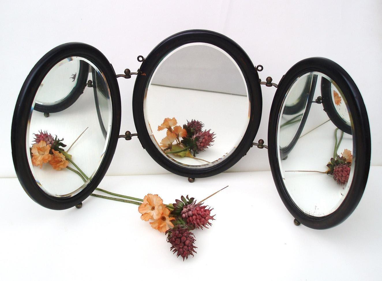 Antique mirror tri fold mirror vanity mirrors shaving for Tri fold mirror