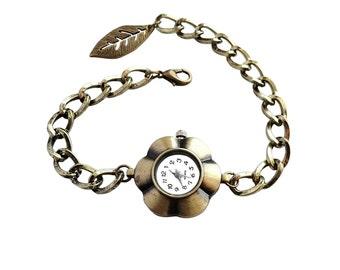 Get 15% OFF - Handmade Women Fashion Vintage-style Antique Bronze Flower Shape Quartz Watch Bracelet - Labor Day SALE 2016