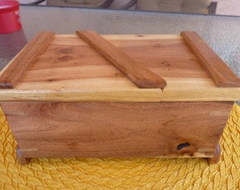 Handcrafted Swivel Top Mesquite Jewelry/Keepsake Box