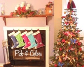 Family Chistmas Stocking - PICK 4 - all star stockings- 10 colors to choose from