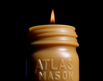 "Beeswax Candle - antique bottle shaped - ""ATLAS MASON JAR - half pint"" - by Pollen Arts - Md."