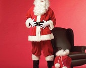 Beautiful deluxe quality hand made Santa Claus/Father Christmas full 9 piece outfit. Beard/wig, gloves, glasses, belt and bag included
