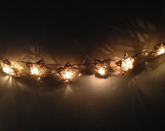 White Rattan star string lights for Patio,Wedding,Party and Decoration (20 bulbs), fairy lights