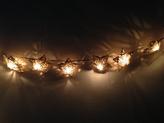 White Rattan star string lights for Patio,Wedding,Party and Decoration (20 bulbs - White Rattan Star String Lights For PatioWeddingParty And By Ginew