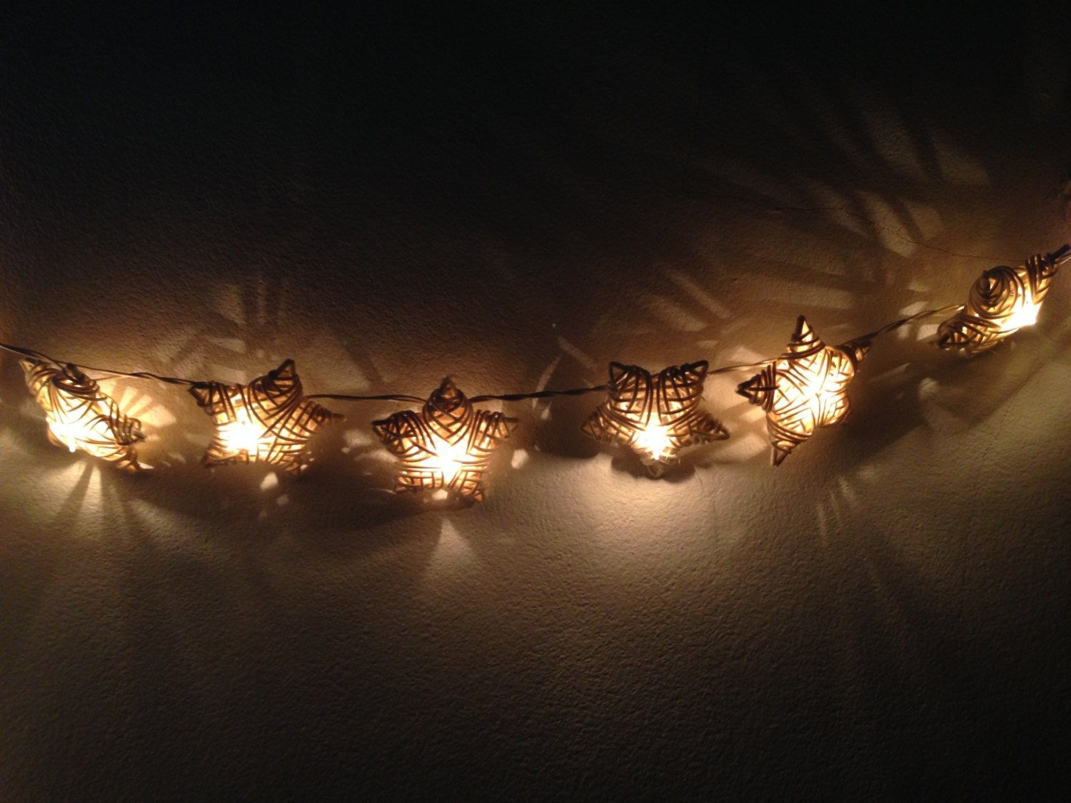 Electric Star String Lights : White Rattan star string lights for PatioWeddingParty and