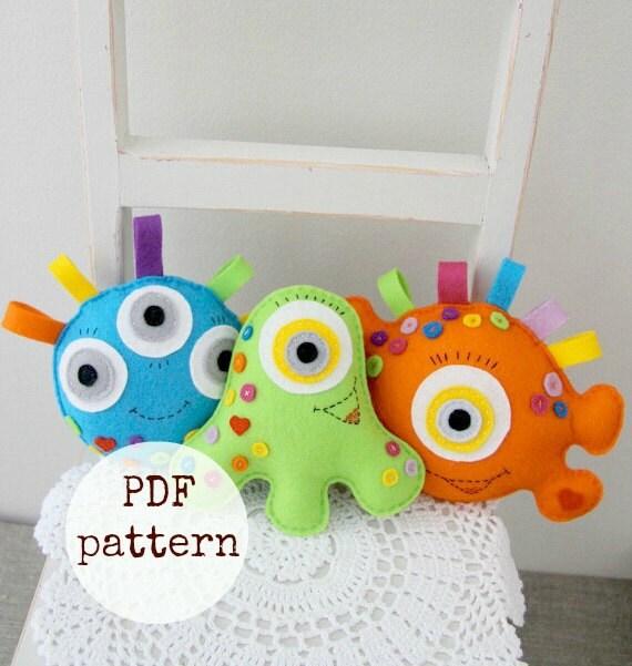 Monster Toys For Boys : Monster toy pdf sewing pattern toys for boys felt