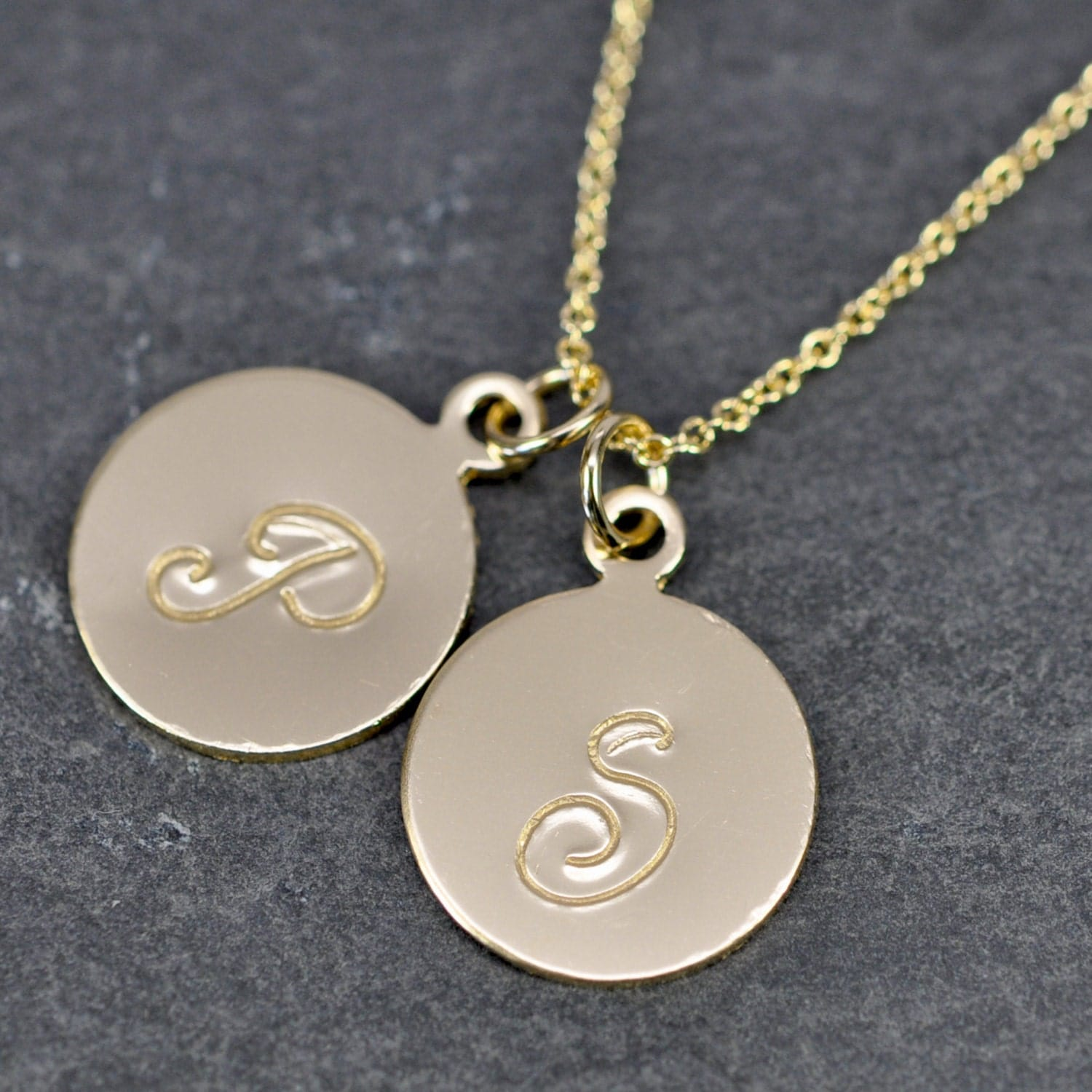 Personalized gold letter necklace scroll script font hand for Custom letter necklace gold