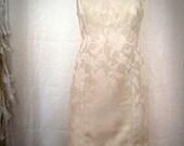 Ivory Brocade Retro Sheath City Hall Wedding Dress