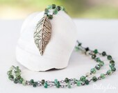 Leaf Necklace - Raw Emerald Necklace - May Birthstone Necklace - Statement Necklace -  Wire wrapped Blue