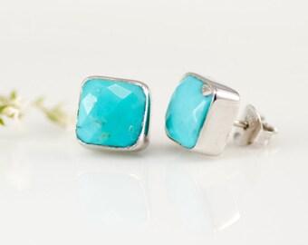 Turquoise Stud Earrings - December Birthstone Studs - Gemstone Studs - Cushion Cut Studs - Silver Stud Earrings - Post Earrings