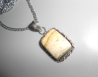 Ocean Jasper Pendant In Sterling Silver Setting - Vintage New Age Polished Stone Jewelry