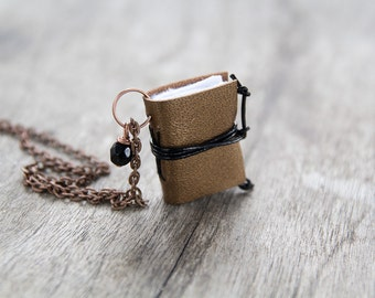 Initial necklace, miniature book necklace, mini book literature jewelry, book lover eco friendly personalized necklace steampunk copper gold