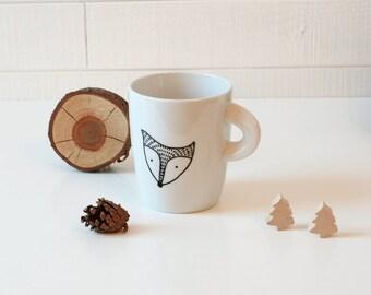 Fox Coffee Mug - Black Fox head illustrated mug