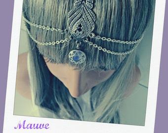 Weddings Bridal Headpiece Wedding Headpiece Bridesmaid Accessory Formal Accessory Head Jewelry Headpiece Chain Headpiece Headdress Mauve