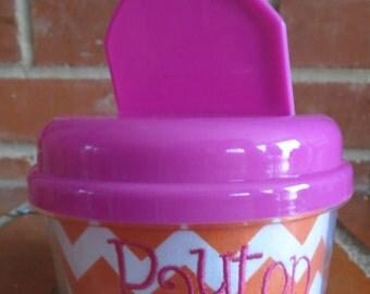 Orange Chevron Personalized Snack Cup