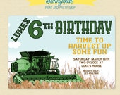 FARM Birthday Invitation - Combine / Harvester / Harvest - Boys Farming Birthday Invite - Green, Red or Blue