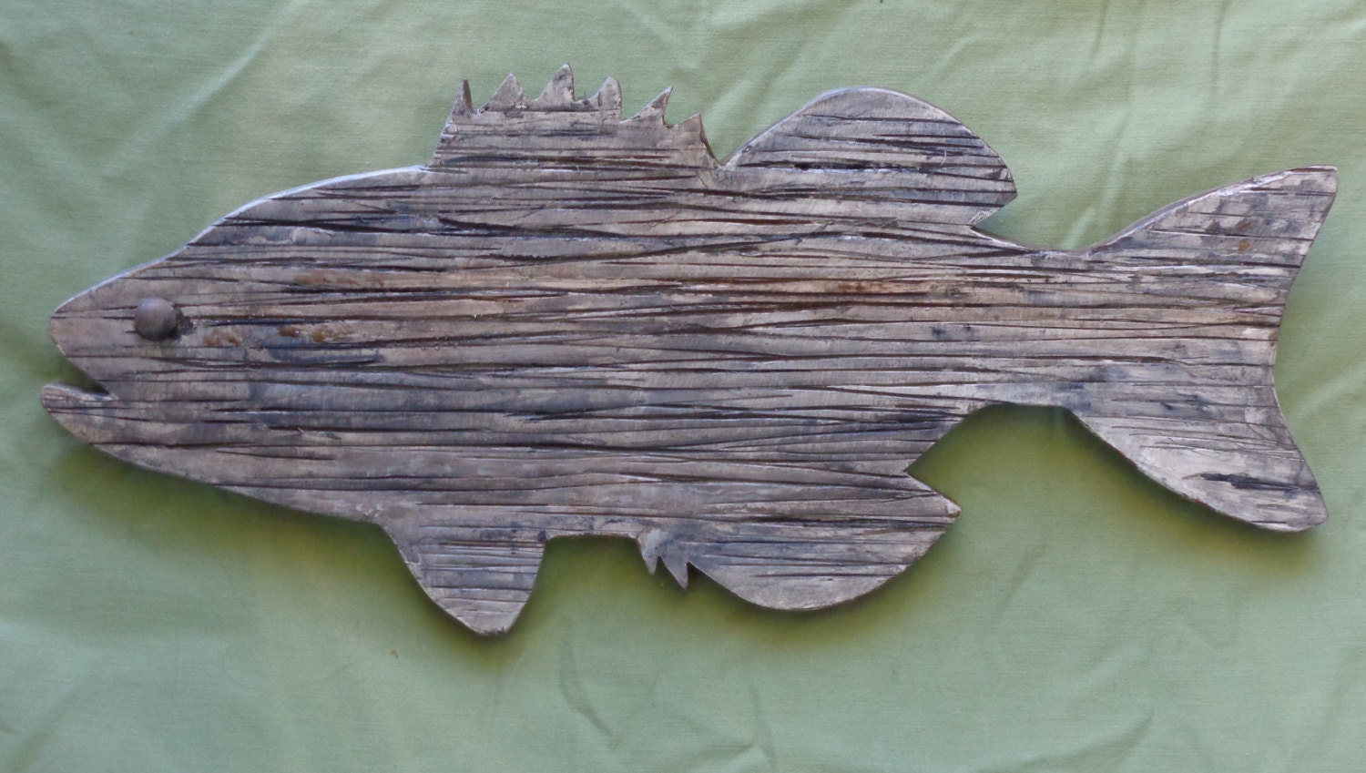 bass large mouth wooden cutout wallhanger wooden by