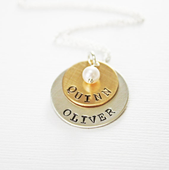 Mom of Twins Necklace with Two Names - Layered Stacked 2 Tone Gold and Silver Disc Disk Pendant with Pearl or Birthstone - Push Present