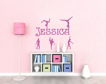1-Color Name Gymnastics Sport Girls Saying Vinyl Wall Decals Stickers Art Decor Mural