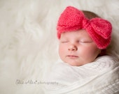 Newborn Coral Mohair Headwrap Prop Headband, Mohair Silk Knit Bow Headwrap Newborn Photo Prop, Newborn to Small Baby Size (Item 1468)