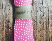 Skinny Tie || Coral Dot