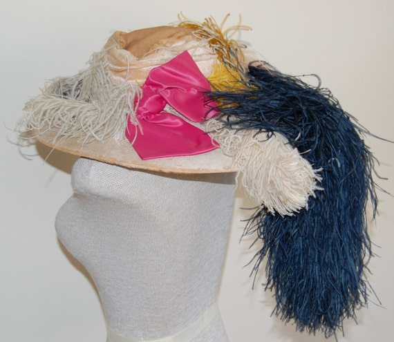 Fabulous Vintage Edwardian Couture Wide Brim Velvet Hat with Ostrich Feathers and Satin Bow