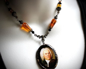 Johann Sebastian Bach, classical composer, Baroque, German musician, romantic jewelry, vintage, polymer clay, glass beads, amber, black