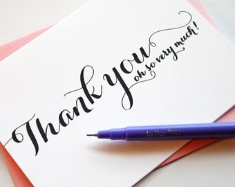 Thank you cards // Wedding Thank you cards // Folded Calligraphy Thank you cards // Thank you notecards