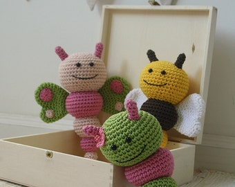 PATTERN - Bug rattles - Butterfly, Bee and Caterpillar - crochet pattern, amigurumi pattern, pdf