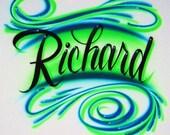 Airbrush T Shirt Script Name Swirls, Airbrush Name Shirt, Airbrush Shirt, Airbrushed Shirt, Airbrushed Name Shirt, Airbrush, Custom Airbrush